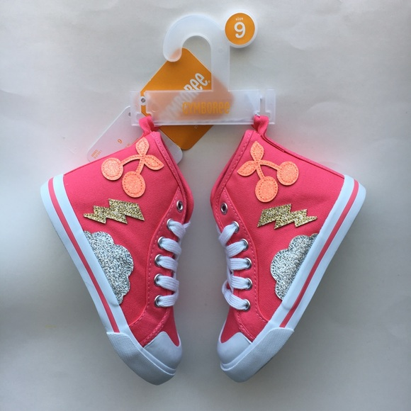 NWT Gymboree Spring Forward Cherry High Top Sneakers Shoes Girls kid and toddler